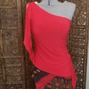 Tops - Asymmetrical Red Date Night Top